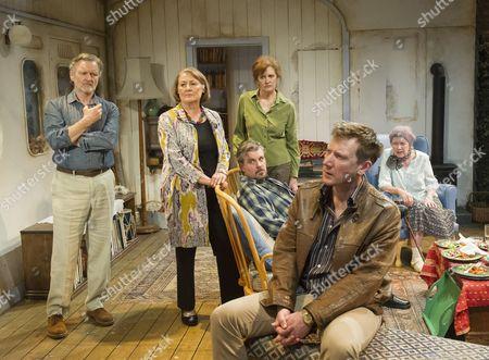 Stock Image of Neil McCaul as Tom, Rachel Bell as Shirley, James Wallace as Ori, Kate Fahy as Sonia, Michael Begley as Roy, Marty Cruickshank as Virgie