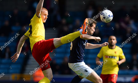 Millwall's, Ed Upson with Watford's, Ben Watson- Millwall v Watford at The Den. Sky Bet Championship. Picture By Jason Dawson 11.04.15