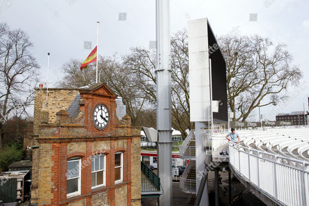 A flag flies at half mast in memory of former Australian Cricket Captain and cricket commentator Richie Benaud at Lords Cricket Ground