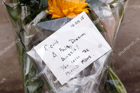 A fan leaves flowers in memory of former Australian Cricket Captain and cricket commentator Richie Benaud outside Lords Cricket Ground