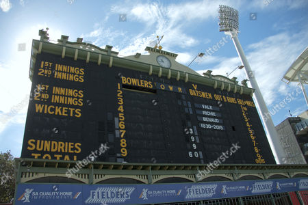 Tribute on the old scoreboard at the Adelaide Oval to Australian cricketer and broadcaster Richie Benaud 1930-2015 who died aged 84 from the effects of skin cancer