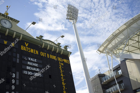 Adelaide Australia. 11th April 2015. Tribute on the old scoreboard at the Adelaide Oval to Australian cricketer and broadcaster Richie Benaud 1930-2015 who died aged 84 from the effects of skin cancer