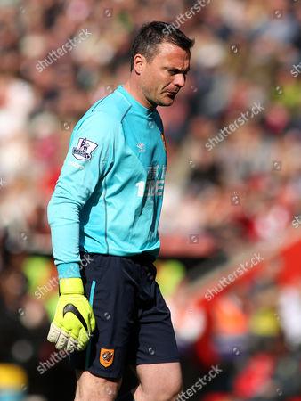 Steve Harper of Hull City looks dejected.