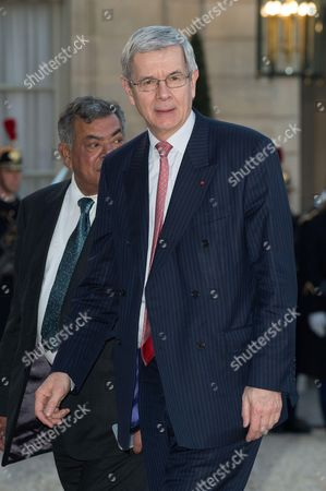France's nuclear Group Areva Chairman Philippe Varin arrives for an official dinner in honor of the Indian Prime Minister Narendra Modi at the Presidential Elysee palace in Paris