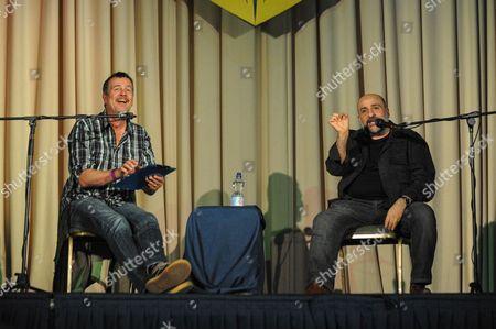 English novelist Mark Billingham interviewing comedian, actor, television producer and writer Omid Djalili