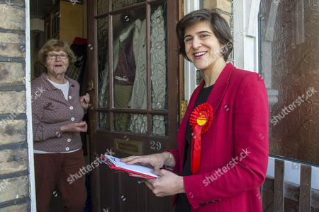 Labour Parliamentary candidate for Finchley & Golders Green, Sarah Sackman canvasses Frances Loveday (left).