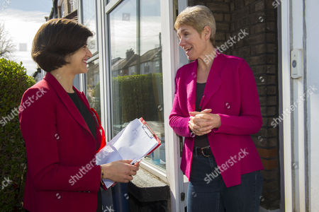 Labour Parliamentary candidate for Finchley & Golders Green, Sarah Sackman (left) canvases Caroline Webster (right).