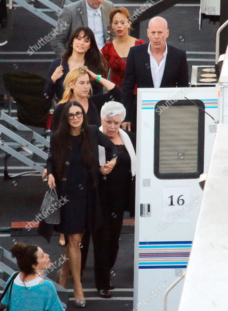Stock Picture of Bruce Willis, Emma Heming, Scout Larue Willis, Demi Moore and Marlene Willis