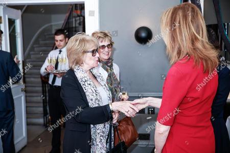 Jane Merrow and Christina Harris greeting CEO of academy Dawn Hudson