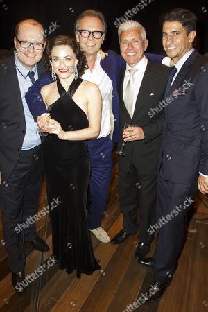 Michael Harrison (Producer), Lara Pulver (Louise), Jonathan Kent (Director), David Ian (Producer) and Raza Jaffrey backstage