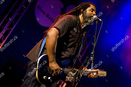 US blues musician Alvin Youngblood Hart performing live at Blue Balls Festival, Pavillon am See, lakeside pavilion, Lucerne, Switzerland, Europe