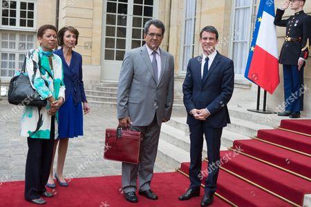 Marie Pau Langevin, Manuel Valls, Marisol Touraine and Edouard Fritch at Matignon Palace, Paris