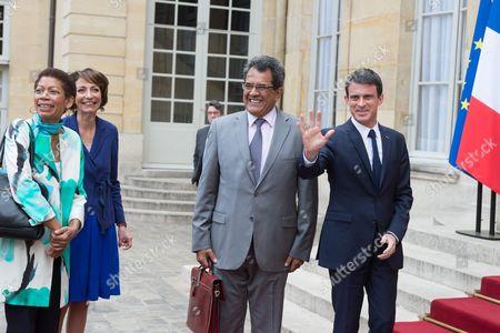 Stock Image of Marie Pau Langevin, Manuel Valls, Marisol Touraine and Edouard Fritch at Matignon Palace, Paris