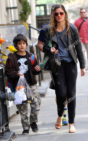 Editorial photo of Jill Hennessy and son out and about, New York, America - 16 Apr 2015