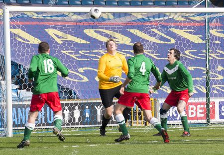 Prostate Cancer Uk Charity Football Match At Millwall Football Club. The Teams Where 'men Utd' Vs Ukpfc. Toby Perkins Mp In Goal.