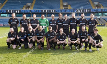 Prostate Cancer Uk Charity Football Match At Millwall Football Club. The Teams Where 'men Utd' Vs Ukpfc. The Men United All Stars Team Lineup- Top Row Left To Right - Andy Edwards Richard Thomas Mikis Euripedes Lawrence Batty Mark Bishop David Cameron-walker John Marzetti Steve Greenwood Stuart Hammonds Simon Grieveson. Bottom Row Left To Right - Andy Ambler Neil Harris Michael O'brien Luther Blissett Erol Mckellar Tom Kelly Mark Tighe Sandro Di Michele Gareth Ellis-thomas.