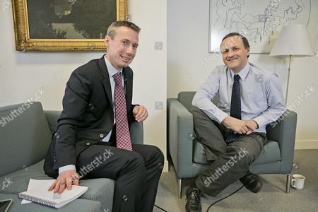 Money Mail Journalist James Coney Interviews Steve Webb (r) Minister Of State For Pensions.