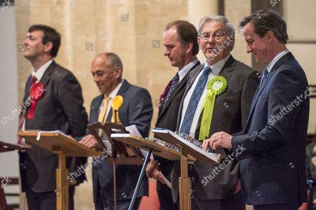 Stock Photo of Duncan Enright - Labour, Andy Graham - Liberal Democrat, Simon Strutt - UKIP, Stuart MacDonald - Green, David Cameron - Conservative