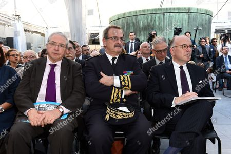 Jean Paul Huchon, Ile de France Prefect, Jean Francois Carenco and Minister of the Interior, Bernard Cazeneuve