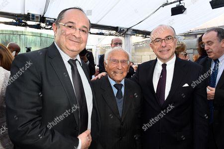 President of the FSJU (social jewish network of France) Ariel Goldmann, Roger Fichtenberg and Minister of the Interior Bernard Cazeneuve attend the Ceremony organized by the MJLF (Mouvement Juif Liberal de France)