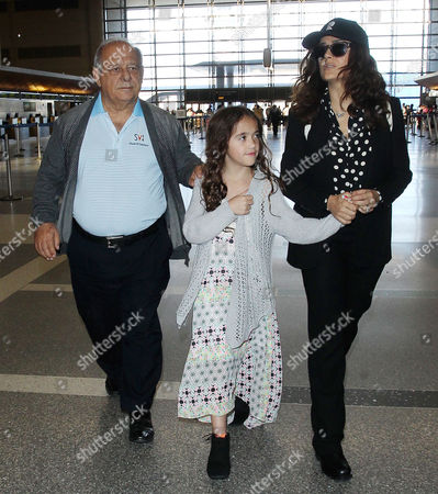 Editorial image of Salma Hayek and family depart from LAX Airport, Los Angeles, America - 18 Apr 2015