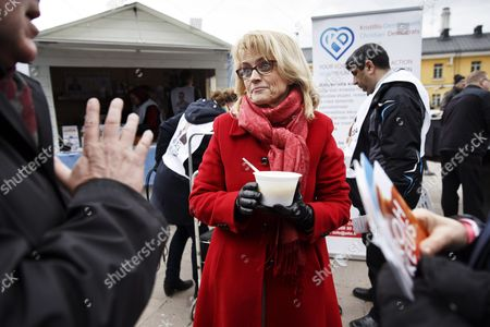 Stock Image of Chairwoman Paivi Rasanen of the Christian Democrats campaigned in Helsinki