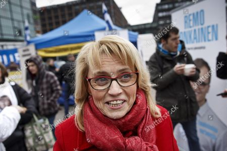 Stock Picture of Chairwoman Paivi Rasanen of the Christian Democrats campaigned in Helsinki