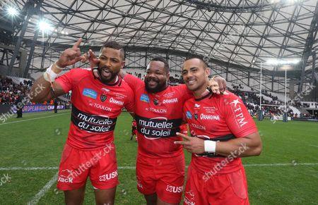 ToulonÕs Delon Armitage, Mathieu Bastareaud and Rudi Wolf celebrate