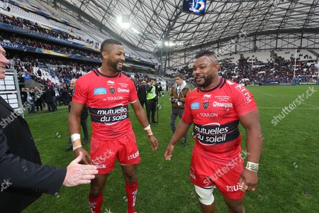 Toulon brothers Delon Armitage and Steffon Armitage celebrate after the match