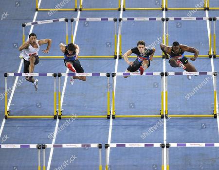 60 m hurdles, men, from left: Darien Garfield FRA, Erik Balnuweit GER, Evgeniy Borisov RUS, David Oiver USA, Sparkassen-Cup 2009, Stuttgart, Baden-Wuerttemberg, Germany, Europe