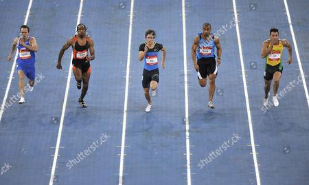 60 m sprint, men, from left: Alexander Kosenkow GER, Marcus Brunson USA, Christian Blum GER, Marius Broening GER, Simone Collia Ita, Sparkassen-Cup 2009, Stuttgart, Baden-Wuerttemberg, Germany, Europe