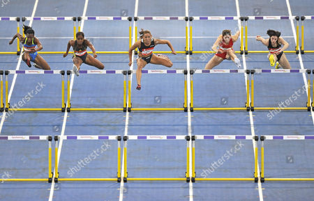 60 m hurdles, women, from left: Kellie Wells USA, Anay Tejada CUB, Lolo Jones USA, Carolin Nytra GER, Nadine Hildebrand GER, Sparkassen-Cup 2009, Stuttgart, Baden-Wuerttemberg, Germany, Europe