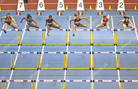60 m hurdles, women, from left: Olena Krasovska UKR, Kellie Wells USA, Anay Tejeda CUB, Lolo Jones USA, Carolin Nytra GER, Nadine Hildebrand GER, Sparkassen-Cup 2009, Stuttgart, Baden-Wuerttemberg, Germany, Europe