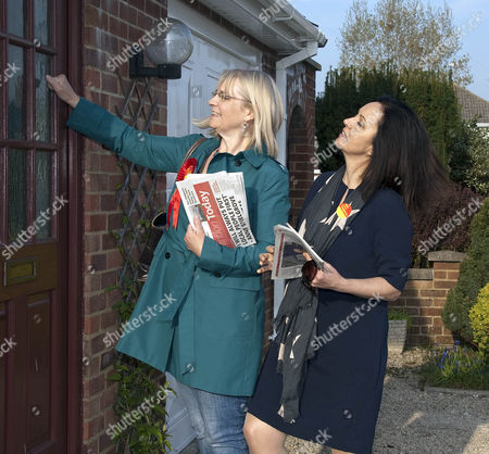 Editorial photo of Shadow Energy Secretary Caroline Flint MP and Labour candidate for Swindon South Anne Snelgrove on general election campaign in Walcot, Swindon, Wiltshire, Britain - 21 Apr 2015