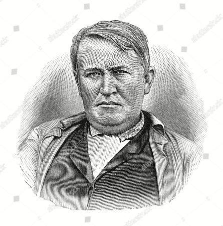 Woodcut, Thomas Alva Edison, portrait