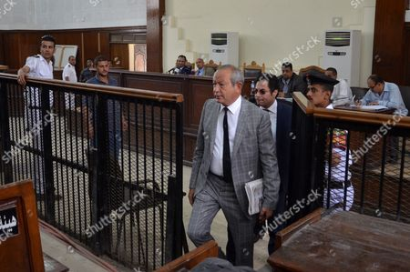 Naguib Sawiris, one of Egypt's wealthiest businessmen attends the retrial of Al-Jazeera television journalists