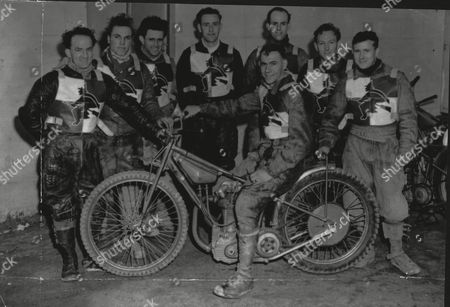 Stock Image of Ipswich Speedway Team Line-up. Captain Sid Clark (on Bike) Then (l-r) Bert Edwards Len Silver Doug Papworth John Lawrie Dennis Day Junior Bainbridge And Ted Read.