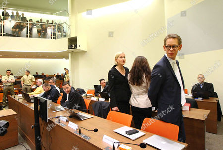 Defendants, Andre Eminger and Beate Zschaepe with lawyers Anja Sturm, Wolfgang Stahl and Wolfgang Heer