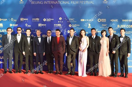 Cast of the film 'Helios' - directors Lok Man Leung (5L) and Lu Jianqing (1L), actors Chang Chen (2L), Nick Cheung (4L), Jacky Cheung (6L), Wang Xueqi (7L), Shawn Yue (4R) and Choi Siwon