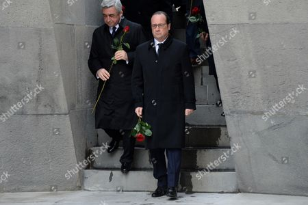 Armenia's President Serge Sarkisian and French President Francois Hollande