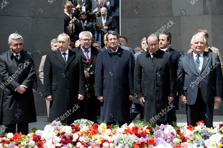 Armenia's President Serge Sarkisian, Russian President Vladimir Putin, Cyprus' President Nicos Anastasiades and French President Francois Hollande