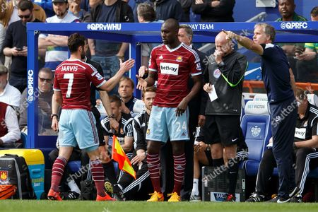 Carlton Cole of West Ham United replaces Matthew Jarvis
