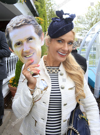 Carla Kyle with her Tony McCoy mask Sandown