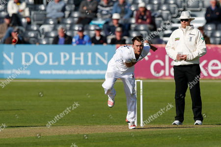Alex Hughes of Derbyshire bowls out James Hughes of Gloucestershire by L.B.W for 6