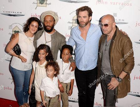 Stock Photo of Abraham Marley, Gideon Marley, Chris Pine, Orly Marley, John Varvatos, Ziggy Marley, Judah Marley