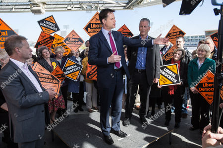 Editorial image of Liberal Democrat party general election campaigning at the Ageas Bowl, Eastleigh, Hampshire, Britain - 27 Apr 2015