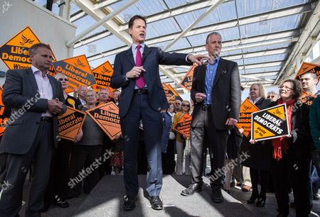 The Deputy Prime Minister and Leader of the Liberal Democrats Nick Clegg visited the Ageas Bowl cricket ground near Eastleigh today with the Lib Dem PPC for Eastleigh Mike Thornton (right)
