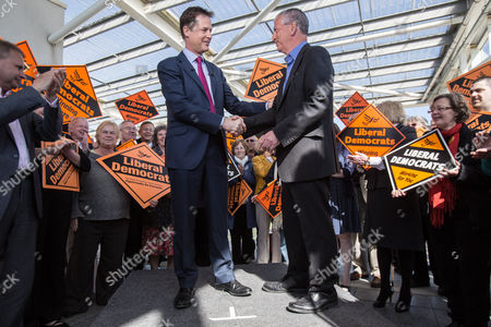 Stock Photo of The Deputy Prime Minister and Leader of the Liberal Democrats Nick Clegg visited the Ageas Bowl cricket ground near Eastleigh today with the Lib Dem PPC for Eastleigh Mike Thornton (right)