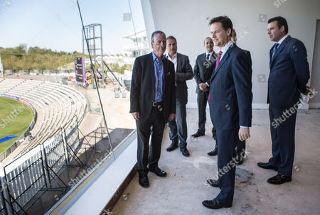 The Deputy Prime Minister and Leader of the Liberal Democrats Nick Clegg visited the Hilton Hotel at the Ageas Bowl cricket ground near Eastleigh today with the Lib Dem PPC for Eastleigh Mike Thornton (left).
