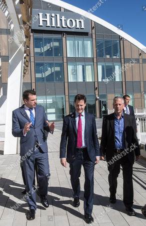 The Deputy Prime Minister and Leader of the Liberal Democrats Nick Clegg visited the Hilton Hotel at the Ageas Bowl cricket ground near Eastleigh today with the Lib Dem PPC for Eastleigh Mike Thornton (right).